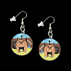 BULLDOGS 33417 button earrings necklace ponytail baubles pins dog bulldog sports
