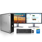Dell Desktop Computer PC Tower Intel Windows 10 7 WIFI Dual LCD Monitor 17 19