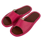 New Synthetic Leather House Slippers for Women Open Toe Slip On Home Flats Shoes