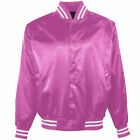 Satin Women Bomber Jacket Vintage Army Biker Retro Zip Up Casual Coat