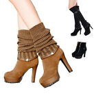 SAGUARO New Women's Warm Knitted Boots Mid-Calf Boots Knee-High Boots 35-39