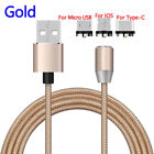 3FT Magnetic Adapter Micro USB/Type C/IOS Fast Charging Sync Data Cable Cord Lot