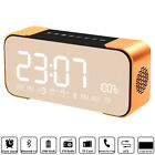 Portable Wirelss Stereo Bluetooth Speaker with Alarm Clock FM Radio LED Mic Bass