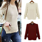 2017 New Women Long Sleeve Knitted Jumper Casual Sweater Knitwear Pullover Tops