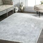 nuLOOM NEW Traditional Vintage Distressed Floral Fringe Area Rug in Silver Gray