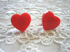 RED PINK HEART SHAPED ACRYLIC STUD EARRING ROCKABILLY / KITSCH / RETRO / PIN-UP