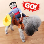 Funny Pet Small Large Dog Christmas Costumes Riding Cowboy Knight Coat Clothes