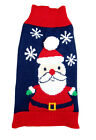 Blue Santa Holiday DOG SWEATER Simply Dog Puppy Christmas SMALL MEDIUM NWT