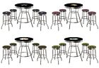 NFL LOGO CHROME BLACK 5 PC BAR TABLE SET FABRIC SWIVEL SEAT STOOLS GLASS OPTION $739.88 USD on eBay