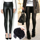 New Women's Winter Thick Faux Leather Leggings Velvet Warm High Waisted Pants