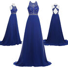 Pageant Hollowed Backless Chiffon Ball Gown Evening Prom Wedding Long Dress Blue