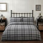 Campbell 100% Brushed Cotton Flannelette Duvet Cover Bedding Set Grey or Red