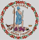 Cross stitch chart, pattern, Virginia, State, Seal, Emblem, Badge, Flag, USA