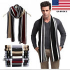 Classic Men Winter Warm Cashmere Feel Long Scarf Faux Wool Soft Wrap Shawl US