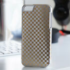 Aluminium Check Pattern Hard Back Chrome Gold Case Cover for iPhone 4S 5S SE