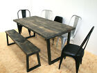 Distressed wide plank industrial dining table onyx grey - u frame