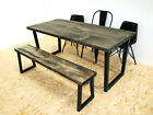 Wide plank industrial dining table onyx grey - u frame
