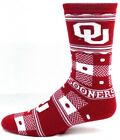 Oklahoma Sooners Red and White Quilt Plaid With Dots Crew Socks Logos Name Ankle