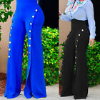 2017 New Women Elegant Button Office Long Trousers High Waist Wide Leg Pants