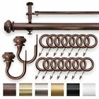 "IMPERIAL 1.25"" Double Curtain Drapery Rod Set Antique Brown 28""- 144"""
