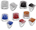AUSTRIAN CRYSTAL Cluster RING in High Polished 316L Stainless Steel Comfort Fit