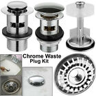 Bathroom Waste Pop Up Push Button Basin Sink Slotted Brass Chrome Waste Plug Kit