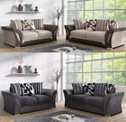 New Shannon Large Corner 3 + 2 Seater Sofa Grey Black / Brown Mink Fabric Settee