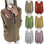 Women Casual V Neck Long Sleeve T-Shirt Jumper Blouse Loose Pullover Tops Shirt