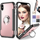 Shockproof Slim Armor Magnet Ring Holder Stand Case Cover +Tempered Glass Screen