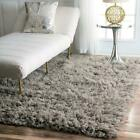 nuLOOM Hand Made Plush Greek Flokati Wool Shag Area Rug in Grey