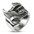 """Silver Stainless Biker Eagle 'Live to Ride Ride to Live' Ring"""" Retail $39.95"""