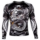 Venum Men's Dragon's Flight Long Sleeve Rash Guard MMA BJJ Black/White
