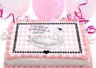 White SWAN lake baby shower first 1st birthday Party Cake Decoration icing sheet