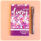 2018 Pocket SMALL DIARY floral purple design large print AUSTRALIAN MADE