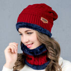 Fashion Women's Men's Winter Scarf And Hat Set Warm Knitted Beanie Scarves