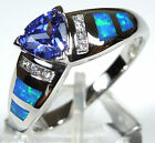0.7 Carat Tanzanite & Blue Fire Opal Inlay  925 Sterling Silver Ring size 6-9