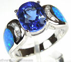 2.5 Carat Tanzanite & Blue Fire Opal Inlay 925 Sterling Silver Ring Sz 6,7,8,9