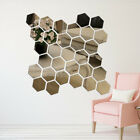 12 Pcs Geometric Hexagon 3D Art Mirror Wall Sticker Decal Home DIY Decor Ornate