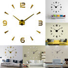 Modern Large 3D DIY Mirror Surface Art Wall Clock Sticker Home Office Room Nice