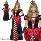 Ladies Queen Of Hearts Costume Book Day Alice Wonderland Fancy Dress Outfit