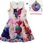 2018 Summer Girls Trolls Princess Poppy Branch Lapel Dress Evening Cosplay O55 image
