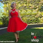 50s Style PLUS SIZE RED CRISS-CROSS Halter Fit-N-Flare Sun Dress w/ POCKETS!