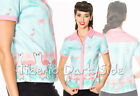 Banned Going My Way Turquoise Pink Flamingo Pin Up Retro Vintage Blouse Shirt