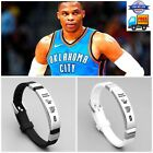 NBA Thunder Russell west Wristband Adjustable Silicone Silver Bracelet US SELLER