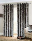 Belle Maison Crushed Velvet Eyelet Curtains Pair Lined Ring Top Silver Grey