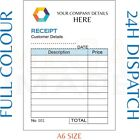 PERSONALISED DUPLICATE A6 RECEIPT BOOK / PAD PRINT / NCR / INVOICE / ORDER