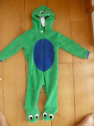 CUTE BABY TODDLER FLEECE ALL IN ONE DRESSING UP PLAYSUIT GREEN DINOSAUR MONSTER