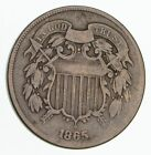 **TWO CENT**1865 US 2 Cent Piece - First Coin with In God We Trust Motto *498