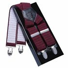 Casual Men Leather X Braces 35mm Wide Strong Metal Four-Clip Elastic Suspenders