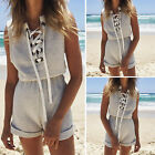 Womens V Neck Bandage Jumpsuit Ladies Casual Summer Beach Overalls Sexy Playsuit